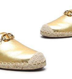 Sandália Rasteira Mule Espadrille Dourada