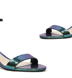Sandália Minimal Block Heel Dots Holografico