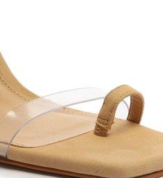 Sandália Salto Triangle Avva Nobuck Transparente Bege
