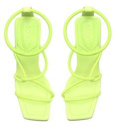 Sandália Salto Alto Geométrico Millie-X Tiras Verde Neon