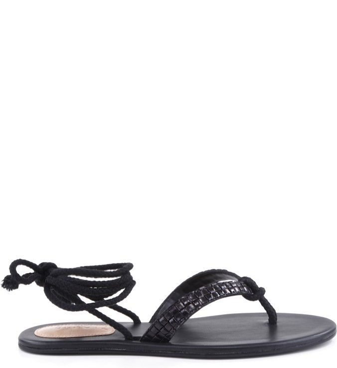 Flat Sandal Lace Up Black