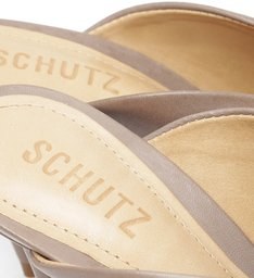 Sapato Mule Salto Camurça Cinza