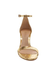 Sandália Gisele Kitten Heel Golden Croco