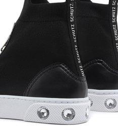 Tênis Top High Knit Zíper Black
