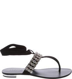 Flat Jewelry Lace Up Black