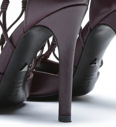 Leather Fishnet Peep Toe Wine