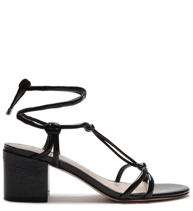 Sandália Block Heel Knots Lace-Up Black