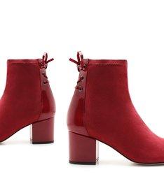 Bota Amarração Stretch Block Heel Red
