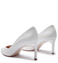 Scarpin Mid Heel Satin White