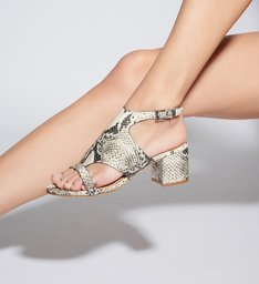 Sandália Block Heel Cover Up Python