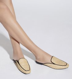 FLAT MULE RÁFIA NATURAL BLACK