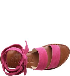 Flat Lace Up Bright Rose