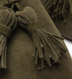 Sapato Mule Rasteira Camurça Verde Militar