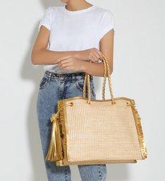Shopping Bag Drop Ráfia Gold