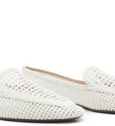 Sapato Mocassim Trama Branco