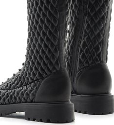 Coturno High Lace-Up Matelassê Black