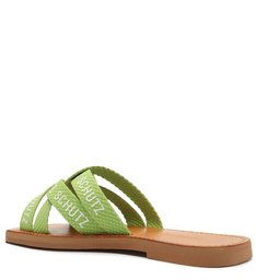 Sandália Rasteira de X Tecido Logo Schutz Verde