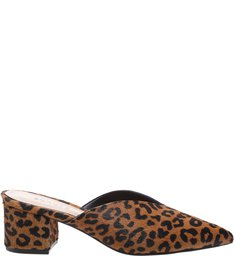 Mule Block Heel Cava Animal Print