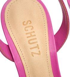 Sandália Salto Bico Quadrado Couro Rosa