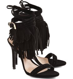 Sandália Leaf Fringes Cow Suede Black