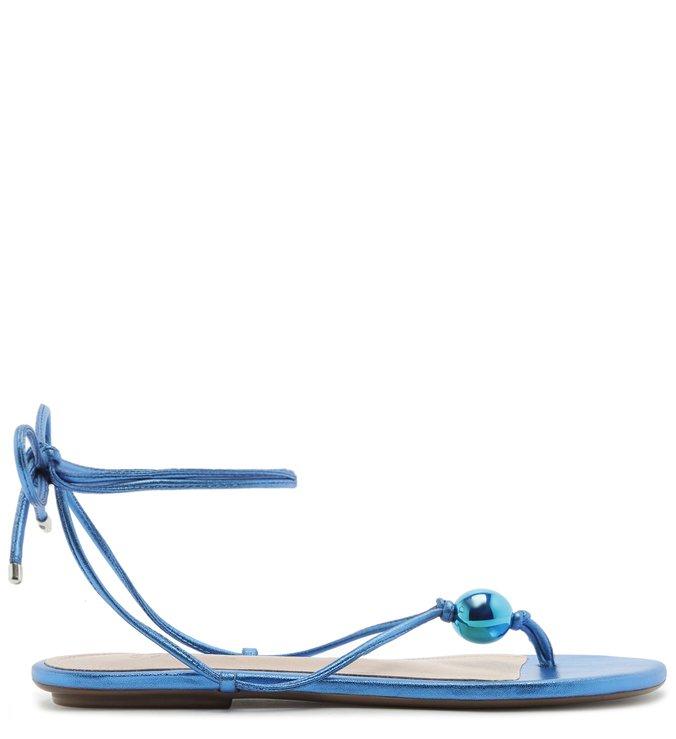 Sandália Rasteira Strings Metallic Blue | Schutz