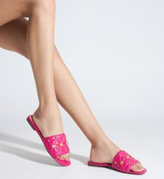 Sandália Rasteira Slide Matelassê Pink