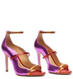 Sandália Salto Alto Metalizada Violeta