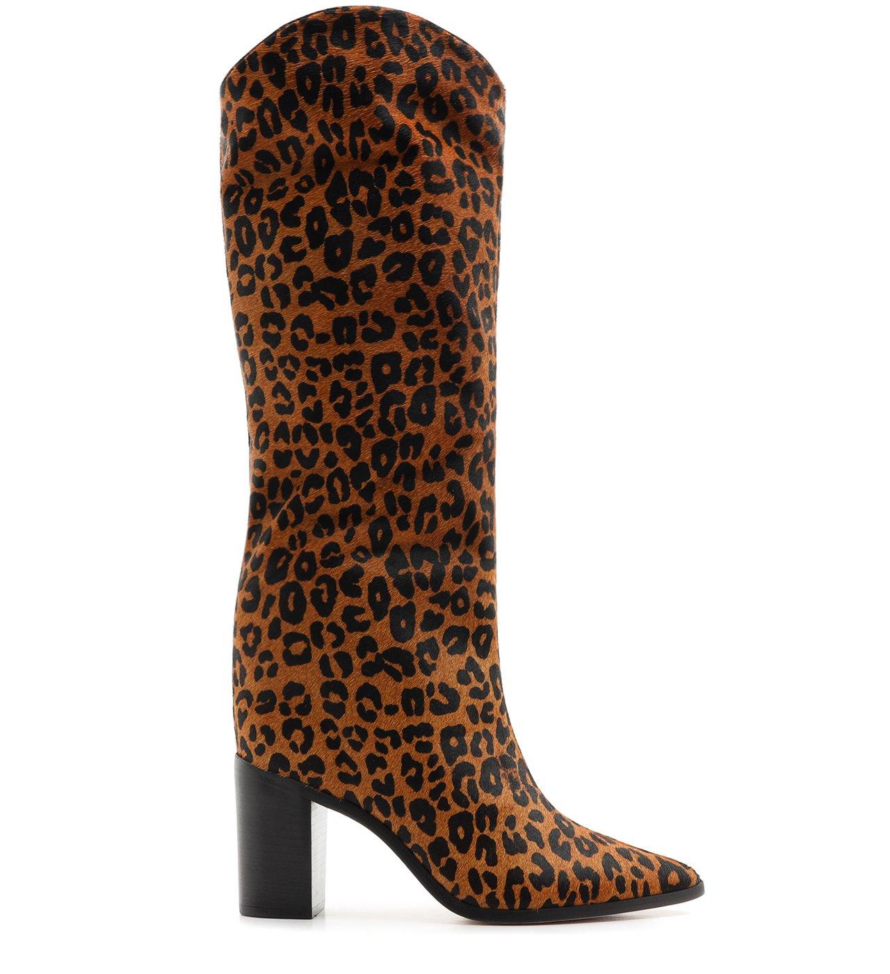 Bota Maryana Block Heel Cano Alto Animal Print | Schutz