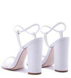 Sandália Salto Bloco Tiras Branca