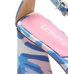 Sandália Salto Alto Avva Estampada Azul