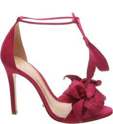 Sandália Flower Lace Up Bright Rose