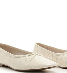Sapatilha Ballerina Croco White