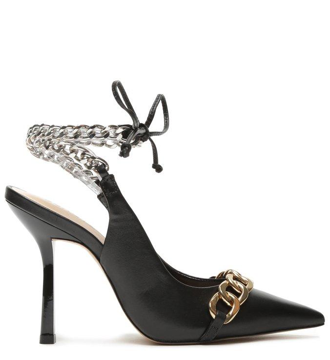Sapato Scarpin Slingback Amarração Preto