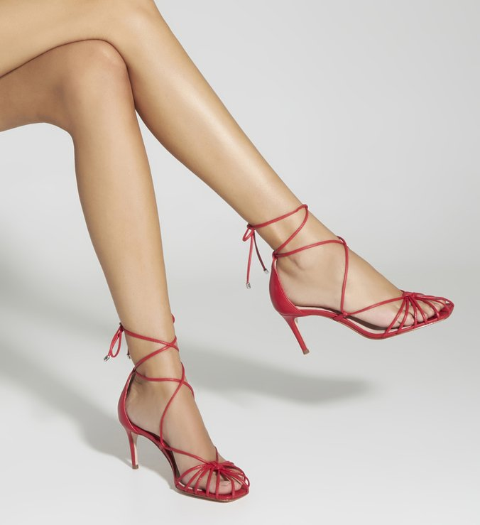 Sandália Mid Heel Lace-Up Strings Red