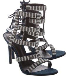 Sandália Salto Fino Tecidos Neutro