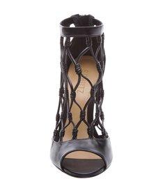 Leather Fishnet Peep Toe Black