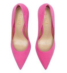 Sapato Scarpin Salto Alto Nobuck Rosa