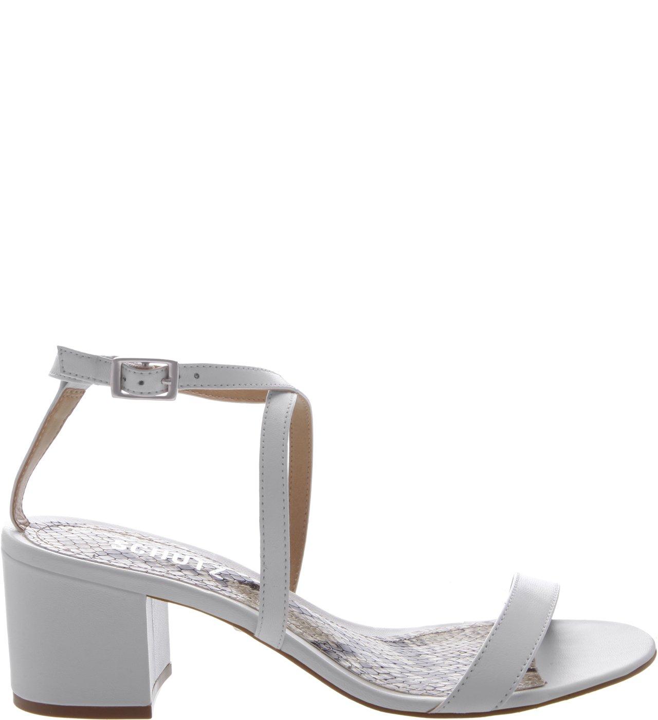 Sandália Block Heel Minimal Python White | Schutz
