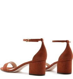 Sandália Minimal Block Heel Nobuck Brown