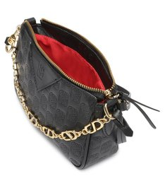 Bolsa Tiracolo Baguette Emblem Couro Preta