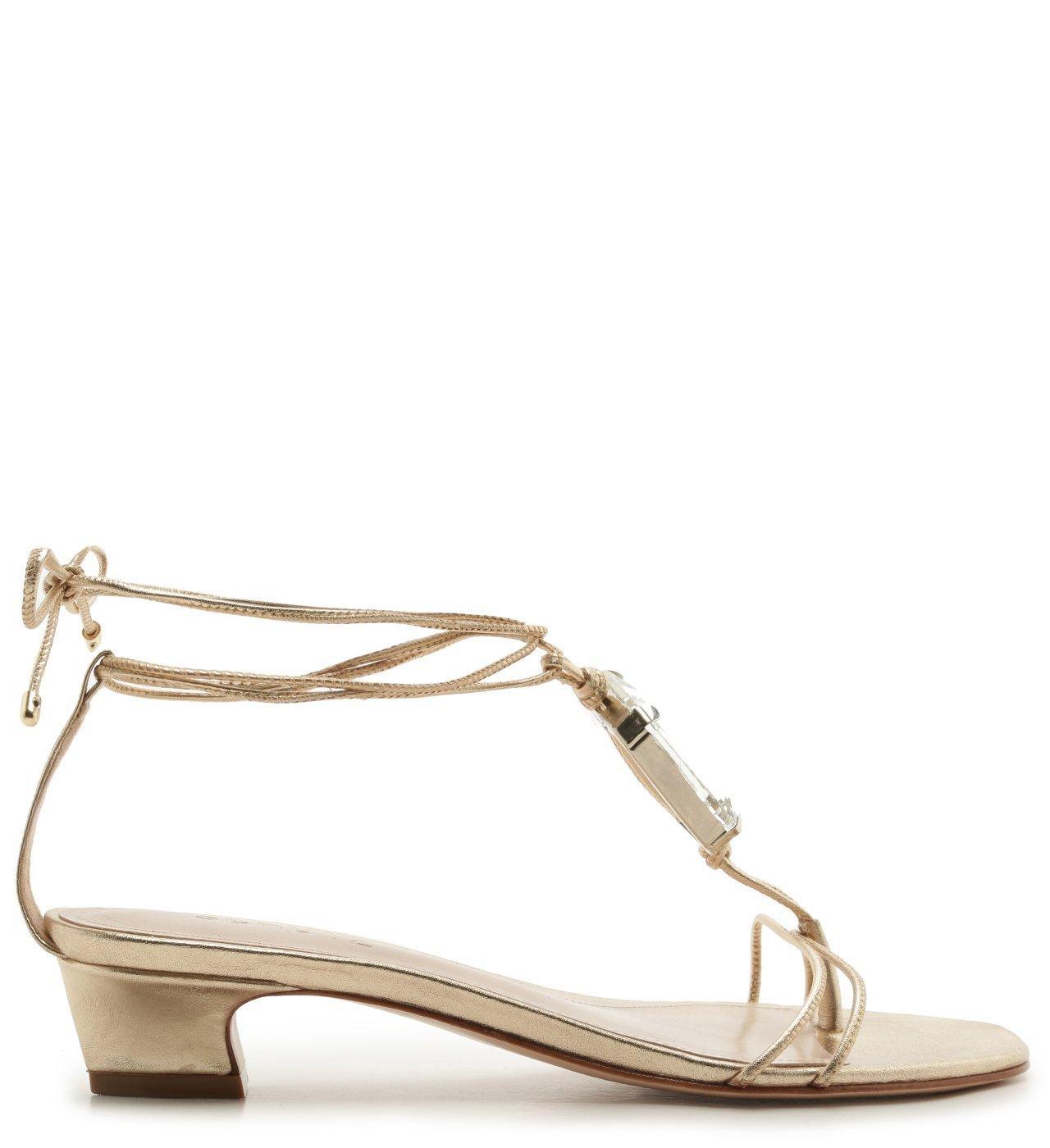 Sandália Micro Heel Glam Stone Platina | Schutz