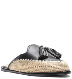 Flat Mule Couro Palha Black
