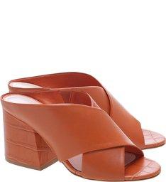 Mule Block Heel Croco Ocre