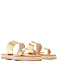 Flat Slide Double Strap Metallic Gold