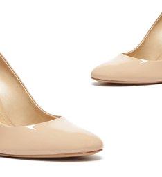 Sapato Scarpin Salto Bloco Verniz Bege