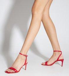 Sandália Salto Bico Quadrado Couro Vermelho