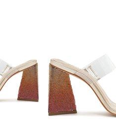 Sandália Mule Salto Ariellen Vinil Transparente Dourada