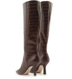 Bota Vintage Mid-High Heel Croco Brown