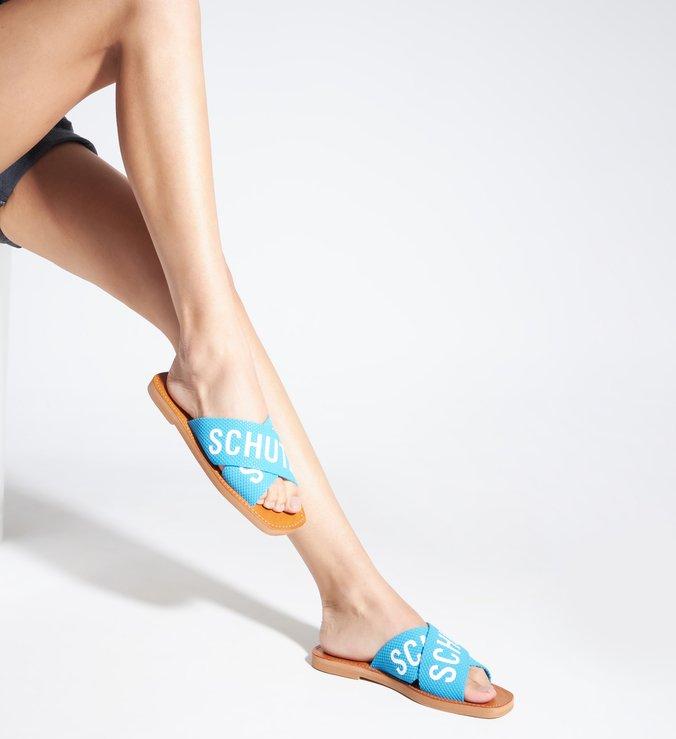 Sandália Rasteira X Schutz Logo Azul