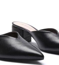 Mule Block Heel Texture Black